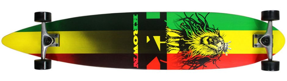 Krown City Surf Rasta Pintail Longboard Complete (Bottom)
