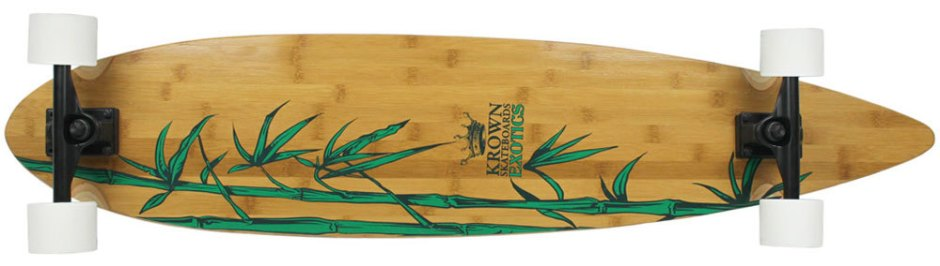 "43"" Krown Exotic Bamboo Pintail Longboard Complete (Bottom)"