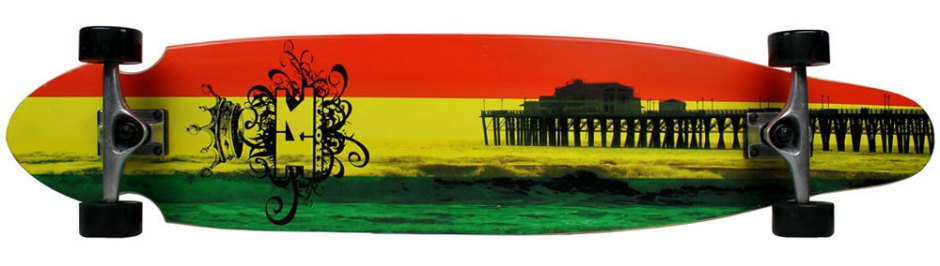 Krown Rasta Kicktail Longboard Complete (Bottom)