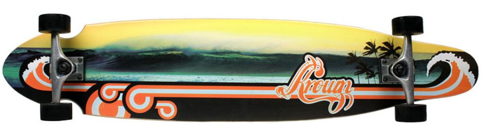 Krown Wave Sunset Kicktail Longboard Complete (Bottom)