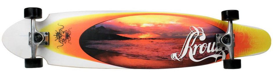Krown Orange Sunset Kicktail Longboard Complete (Bottom)