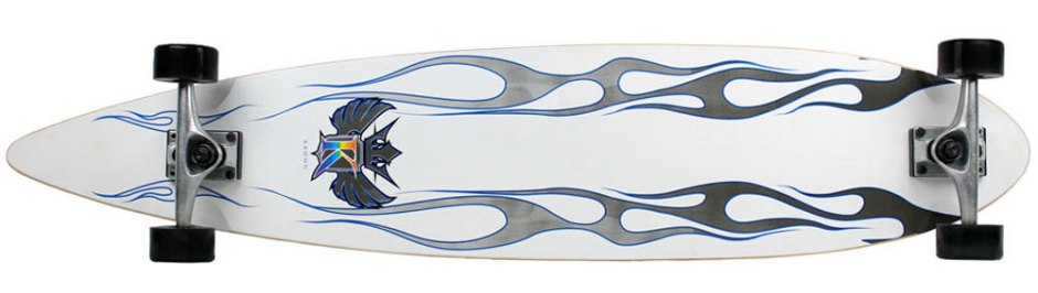 Krown Classic White Pintail Longboard Complete (Bottom)