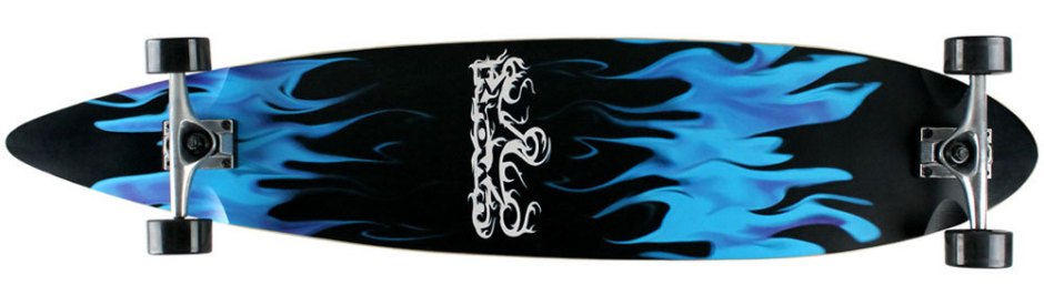 Blue and Black Flames Pintail Longboard Complete (Bottom)