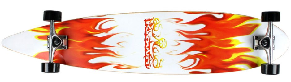 Krown Red and White Flames Pintail Longboard Complete (Bottom)