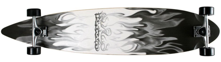 Krown Black and White Flames Pintail Longboard Complete (Bottom)