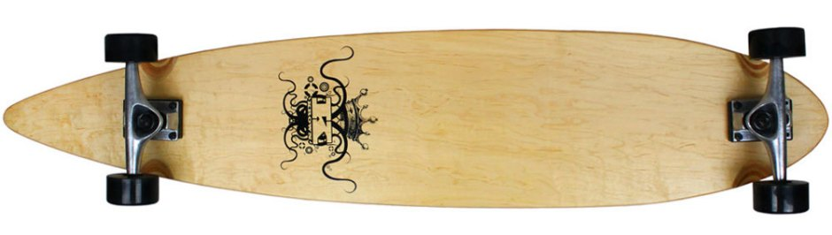 Krown Logo Natural Pintail Longboard Complete (Bottom)