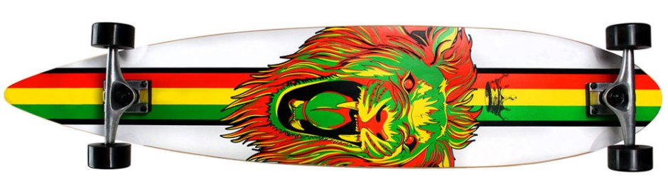 Krown Rasta Lion Pintail Longboard Complete (Bottom)