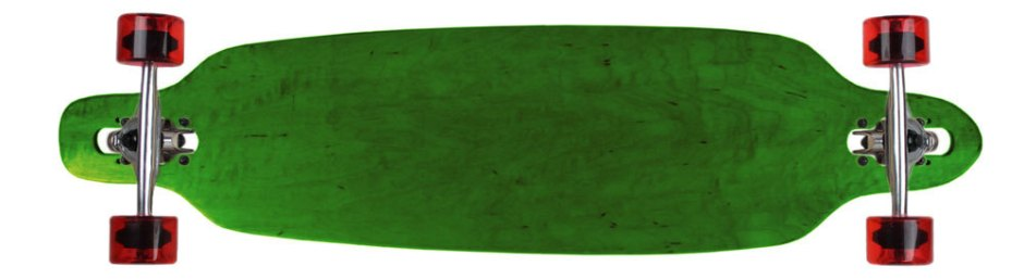 "Moose 36"" Green Stain Drop Thru Longboard Complete with Semi-Transparent Wheels"