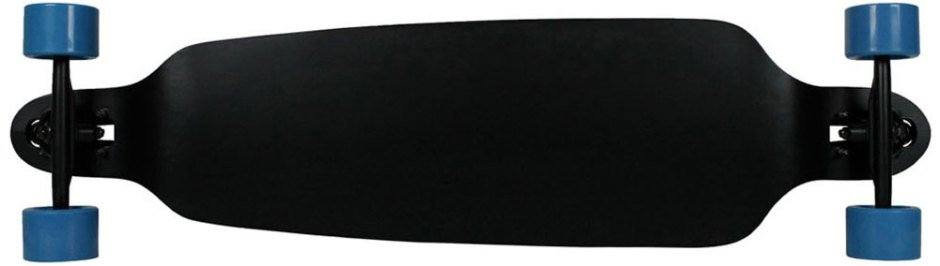 "Moose 39.75"" Double Drop Black Longboard Complete with Blue Big Foot Crusher Wheels (Bottom Profile)"