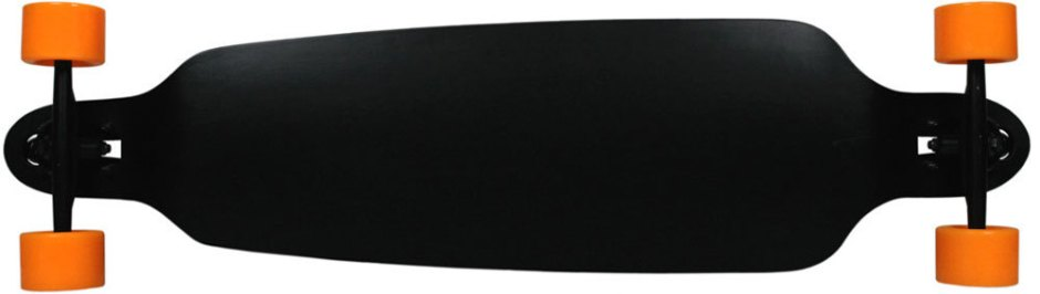 "Moose 39.75"" Double Drop Black Longboard Complete with Orange Big Foot Crusher Wheels (Bottom Profile)"