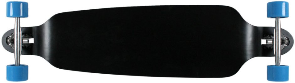 "Moose 39.75"" Black Dip Double Drop Longboard Complete with Blue Longboard Wheels (Bottom Profile)"
