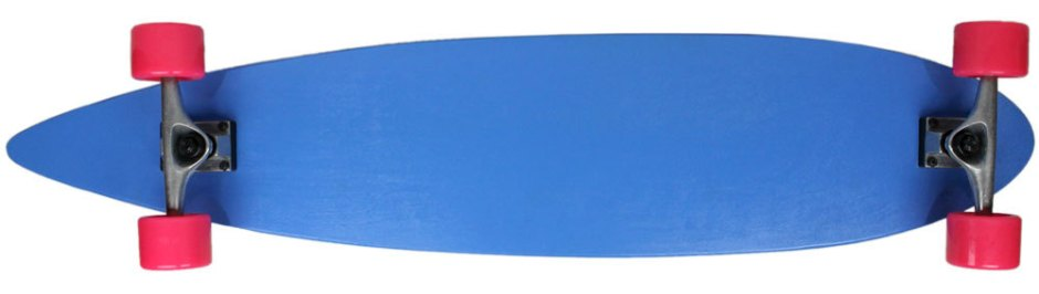 "Moose 43"" Blue Pintail Longboard Complete with Pink Longboard Wheels (Bottom Profile)"