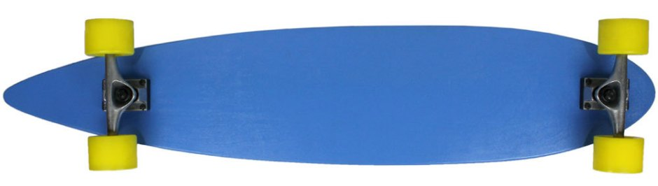 "Moose 43"" Blue Pintail Longboard Complete with Yellow Longboard Wheels (Bottom Profile)"