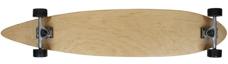 "Moose 43"" Natural Pintail Longboard Complete with Black Wheels (Bottom Profile)"