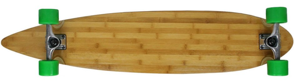 "Moose 43"" Bamboo Pintail Longboard Complete with Green Big Foot Boho Longboard Wheels (Bottom Profile)"