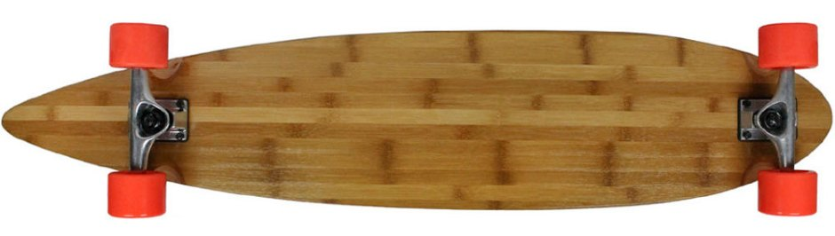 "Moose 43"" Bamboo Pintail Longboard Complete with Orange Big Foot Boho Longboard Wheels (Bottom Profile)"