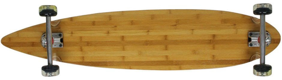"Moose 43"" Bamboo Pintail Complete with Clear Kryptonics Longboard Wheels (Bottom Profile)"