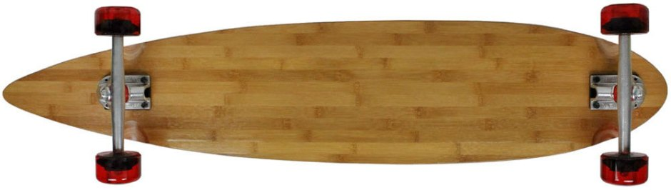"Moose 43"" Bamboo Pintail Longboard Complete with Clear Red Kryptonics Longboard Wheels (Bottom Profile)"