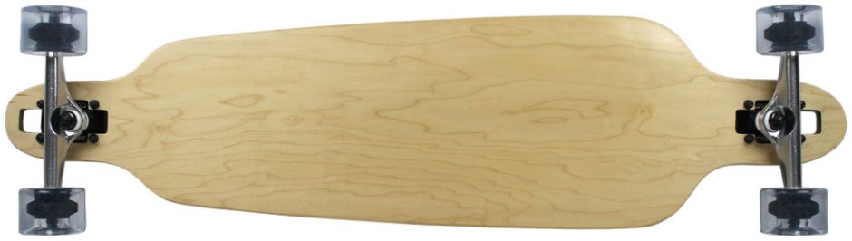 "Moose 39.75"" x 9"" Natural Drop Thru Longboard Complete with Clear Wheels (Bottom Profile)"
