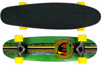Paradise-Barking-Rasta-Stain-Cruiser-Longboard-Complete-Green-Stain-with-Yellow-Wheels