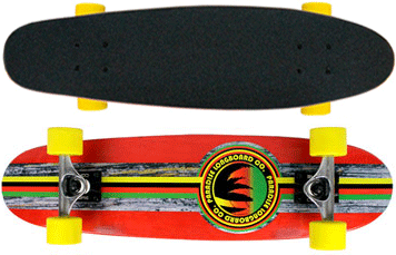 Paradise-Barking-Rasta-Stain-Cruiser-Longboard-Complete-Red-with-Yellow-Wheels