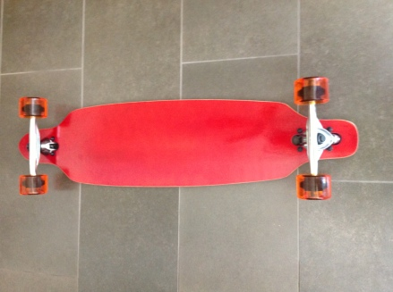 Red Moose Longboard Complete with Orange Urethane Wheels