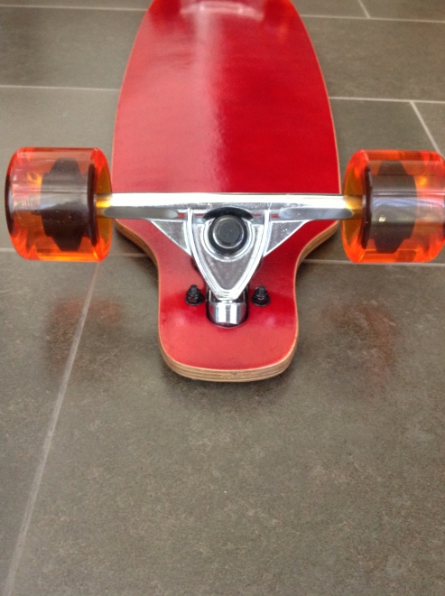 Red Moose Longboard Complete with Orange Urethane Wheels 2