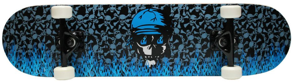 Krown Blue Skull and Flames Skateboard Complete Complete