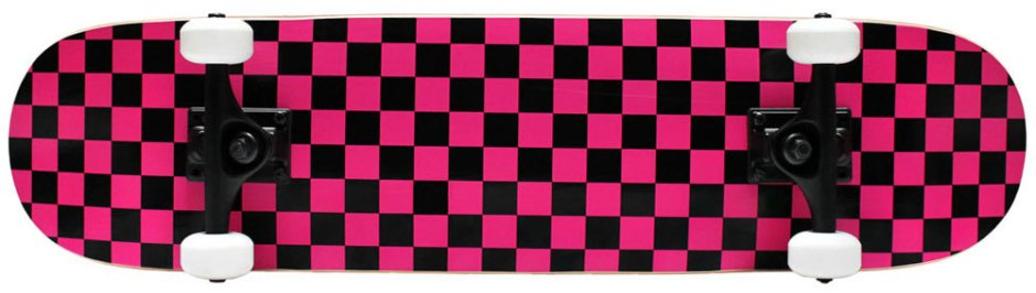 Krown Checkered Pink and Black Skateboard Complete