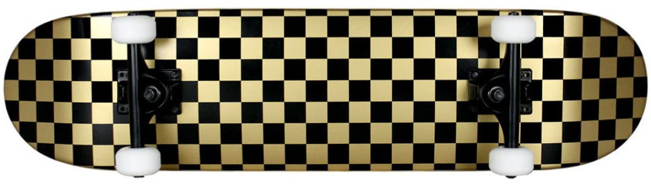 Krown Checkered Black and Gold Skateboard Complete