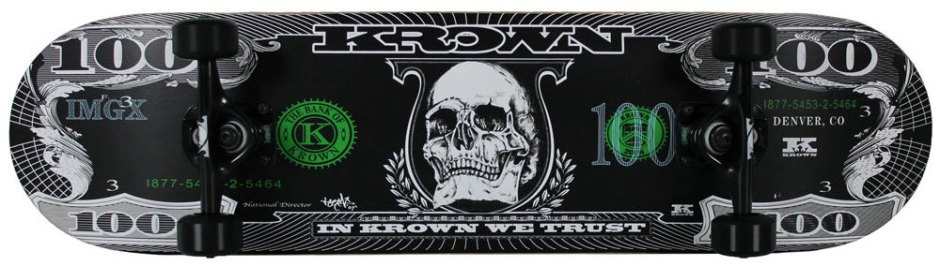 Krown Pro Dollar Black Skateboard Complete