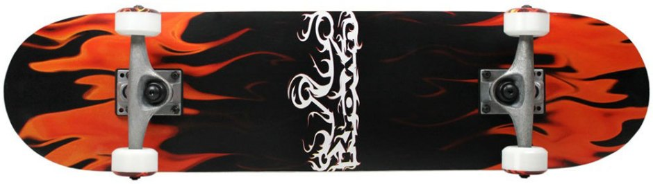 Krown Red and Black Flames Skateboard Complete