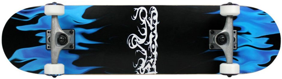 Krown Blue and Black Flames Skateboard Complete