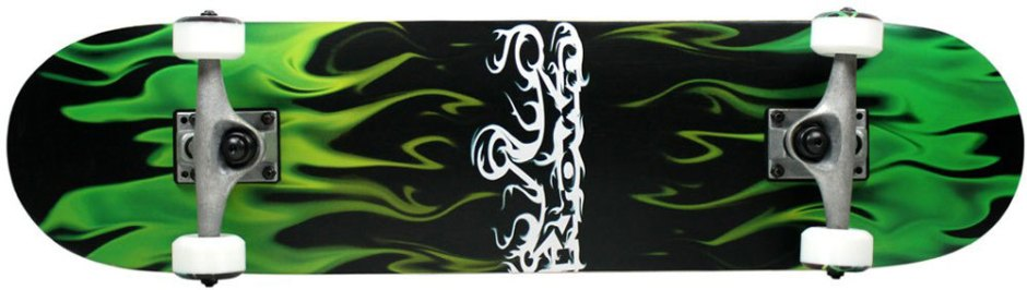 Krown Green and Black Flames Skateboard Complete