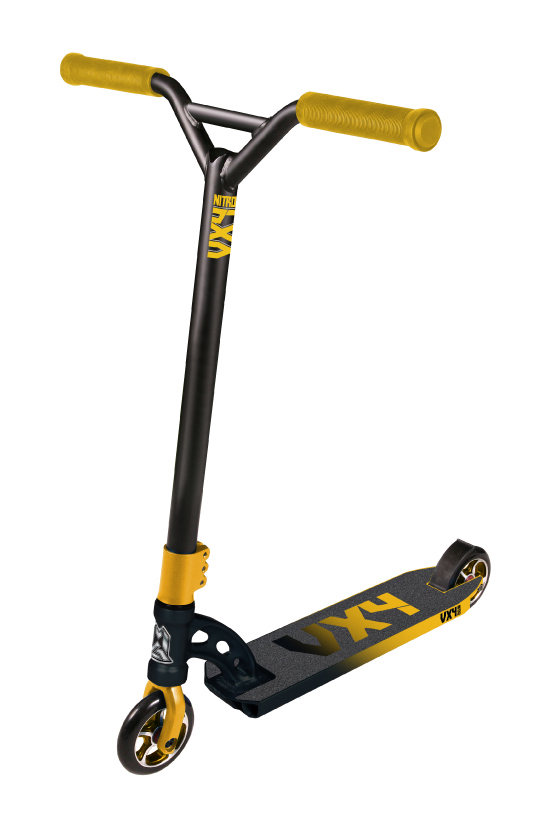 Madd Gear VX4 Nitro Scooter Black and Yellow Scooter Complete