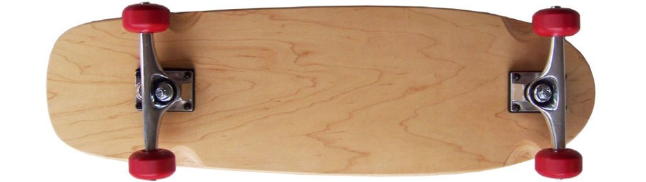 Moose Natural Old School Longboard Cruiser Skateboard Complete with Red Skateboard Wheels (Bottom 2)