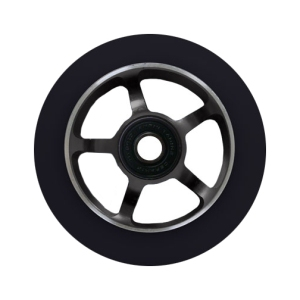 Blank Scooter Wheel 100mm Spoked Aluminum Hub with Bearings Black and Black Scooter Wheel