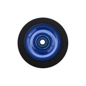 Blank Scooter Wheel 100mm Solid Aluminum Hub with Bearings Black and Blue Scooter Wheel