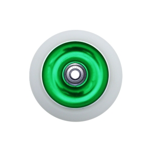 Blank Scooter Wheels Single 110mm Solid Aluminum Hub with Bearings White and Green Scooter Wheel