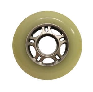 Blank Inline Wheel White and Silver 76mm 82a Inline Wheel