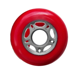 Blank Inline Wheel Red and Gray 76mm 89a Inline Wheel