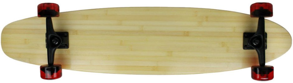"Moose 40"" Bamboo Kicktail Longboard Complete with Clear Red Kryptonics Longboard Wheels (Bottom Profile)"