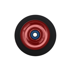 Blank Scooter Wheel 100mm Solid Aluminum Hub with Bearings Black and Red Scooter Wheel