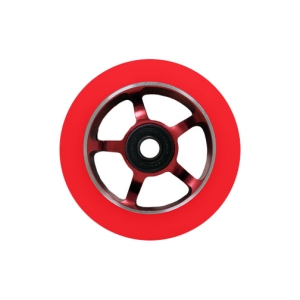 Blank Scooter Wheels Single 100mm Spoked Aluminum Hub with Bearings Red and Red Scooter Wheel