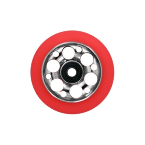 Blank Scooter Wheel 100mm Slotted Aluminum Hub with Bearings Red and Silver Scooter Wheel