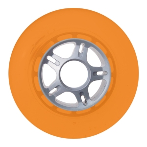 Blank 100mm 88a Scooter Wheel Orange and Silver 5 Spoke Hub Scooter Wheel