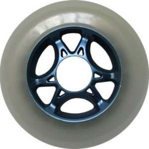 Blank 100mm 88a Scooter Wheel White and Blue 6 Spoke Hub Scooter Wheel