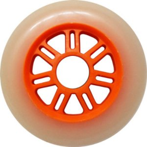 Blank 100mm 88a Scooter Wheel White and Orange 7 Spoke Hub Scooter Wheel