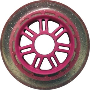 Blank 100mm 88a Scooter Wheel Glitter and Pink 7 Spoke Hub Scooter Wheel
