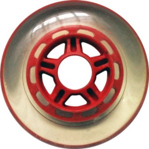 Blank 100mm 88a Scooter Wheel Clear and Red 5 Spoke Hub Scooter Wheel